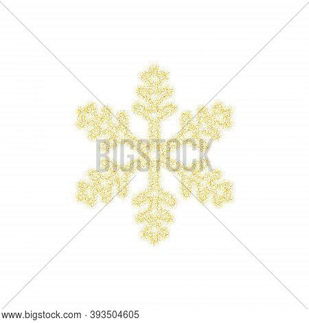 Christmas Golden Snowflake Decoration Of Gold Glitter Shining Sparkles On White Transparent Backgrou