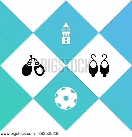 Set Castanets, Football Ball, Giralda And Earrings Icon. Vector