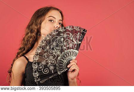 Climate Control. Air Conditioner. Little Kid Waving Elegant Retro Fan. Summer Heat. Fresh Air. Kid G