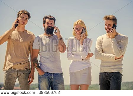 Social Media So Desirable. Group Of Four People. Corporate Team Group. Business Communication. Diver
