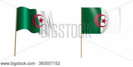 Colorful Naturalistic Waving Flag Of The Algerian Peoples Democratic Republic. Vector Illustration