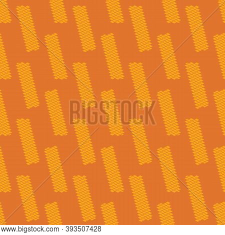 Yellow Wafers Seamless Vector Pattern On Orange Background. Snack Themed Surface Print Design For Fa