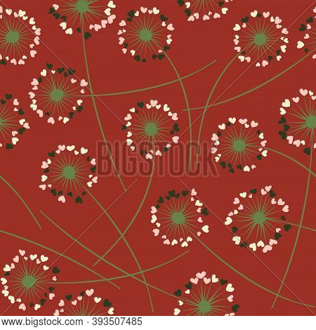 Cute Dandelion Blowing Vector Floral Seamless Pattern. May Flowers With Heart Shaped Fluff Flying. D