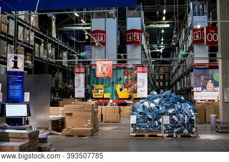 Moscow, Russia, 5 October 2020: Warehouse Storage In An Ikea Store. Warehouse Of The Ikea In Russia.