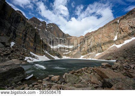Chasm Lake Below Longs Peak In Summer