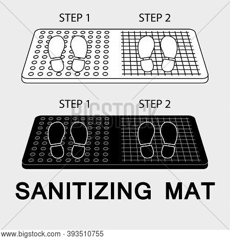 Sanitary Mat. Disinfection Mat Icon. Disinfectant For Shoes Or Foot Baths With Antiseptic Solution.