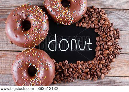 Gluten Free Healthy Coffee Donuts On A Wooden Table . Gluten-free, Soy Free, Lactose-free Product
