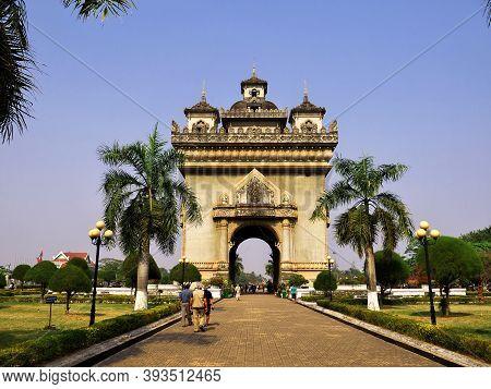 Vientiane, Laos - 26 Feb 2012: Patuxai In Vientiane City, Laos