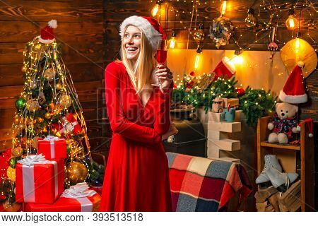 Cheerful Lady In Dress Corporate Christmas Party. Happy New Year Party. Celebrate Christmas. Woman E