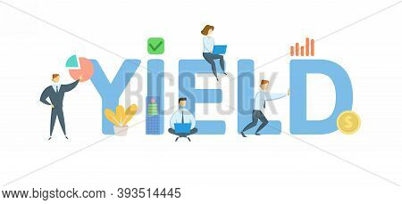 Yield. Concept With Keyword, People And Icons. Flat Vector Illustration. Isolated On White.