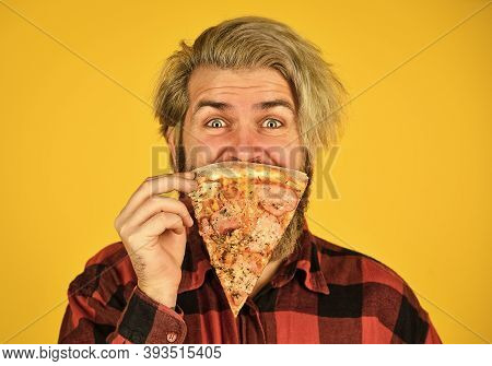 Play With Food. Good To Last Slice. Hungry Man Going To Eat Pizza Alone. Cheesy Taste. In Mood For I