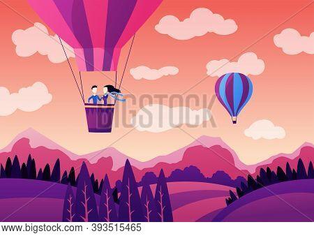 Couple On Hot Air Balloon Above Mountains. Romantic Summer Travel Concept. Air Balloon Ride Festival