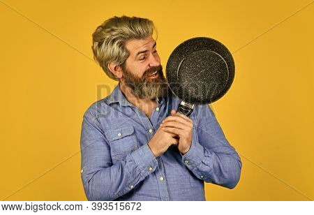 Chef Prepares Meal. Catering. Chef Man Holds Kitchenware. Happy Cook Man Hold Frying Pan. Chef Cooki