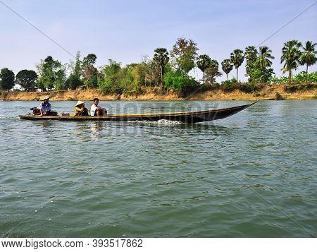 Mekong, Laos - 28 Feb 2012: The Boat On Mekong River On South Laos