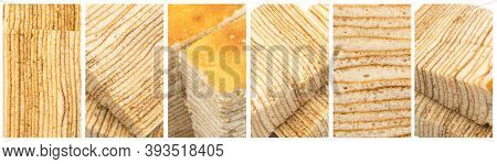 Flaky Biscuit Texture Food Collage, Various Honey Cake Collection