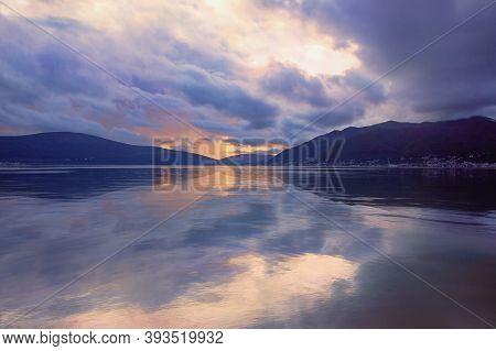 Evening Mediterranean Landscape. Autumn Sunset. Montenegro, Adriatic Sea, View Of Kotor Bay Near Tiv