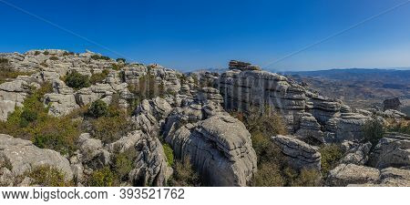 Panorama Of El Torcal De Antequera, A Nature Reserve In The Sierra Del Torcal Mountain Range. It Is