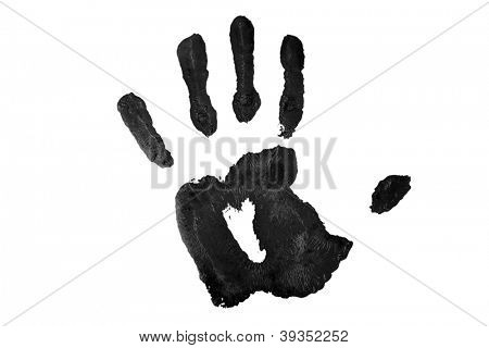 One black handprint against a white background