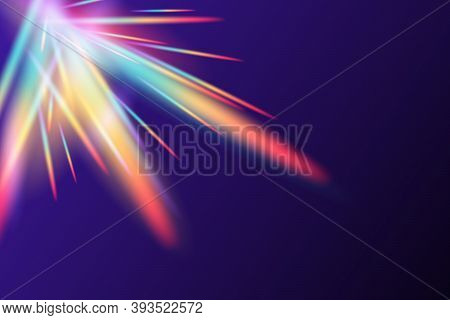 Rainbow Flare Lens Realistic Effect. Vector Illustration Of Light Refraction Texture Overlay Glare F