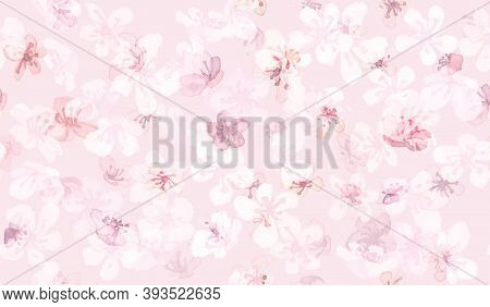 Sakura Vector. Watercolor Rose Tree. Seamless Oriental Chinese Pattern. Romantic Illustration. Sakur
