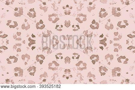 Pink Ocelot Imitation. Brown Trendy Panther Art Pattern. Fashion Camouflage Fabric Design. Seamless