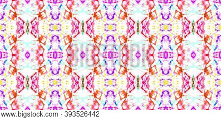Seamless Ethnic Tile. Multi Colorful Repeat. Ink Textured Aquarel Effect. Repeated Tie Dye Backgroun
