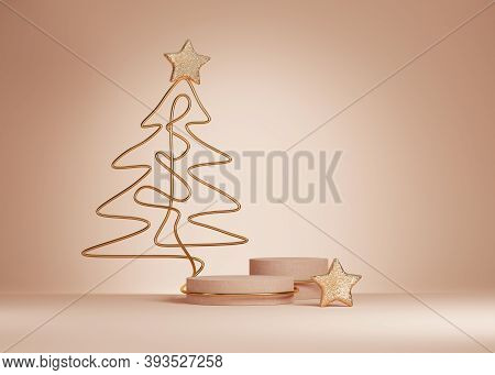 3d Christmas Background. Beige Podium, Display Set With Gold Glitter And Christmas Tree Line Art. Be