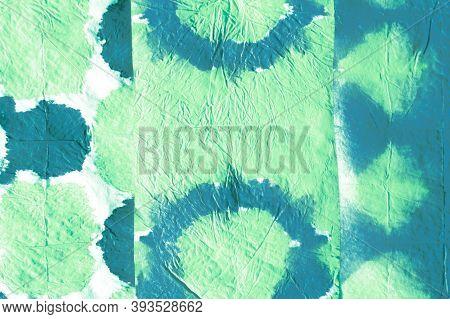 Distress Paper. Retro Mud Art Pattern. Rough Abstract Aquarel Effect. Blue And Green Colors. Impregn