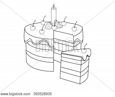Slice Cake With Slice. Cherry Cake With Candle, Glazed With Cherries, Lemon And Strawberries. Birthd
