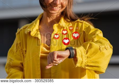 Woman With Smartwatch Getting Likes. Social Media And Communication Concept. Notification Icons Of L