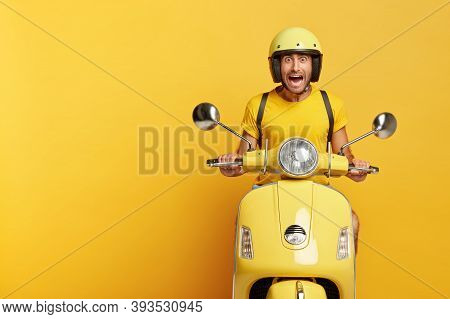 Emotional Man Drives Fast Motorbike Scooter, Reacts Emotionally On Traffic Jam At Road, Has Stupefie