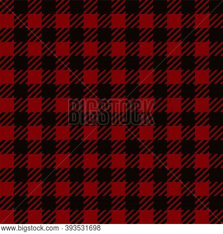 Red Black Gingham Lumberjack Buffalo Tartan Checkered Plaid Seamless Pattern Background. Texture For