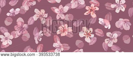 Sakura Pattern. Watercolor Blossom Tree. Seamless Oriental Japan Repeat. Romantic Wallpaper. Vector
