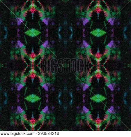 Seamless Watercolor Geometry. Green, Purple And Black. Handmade Artistic Illustration. Tribal Backgr