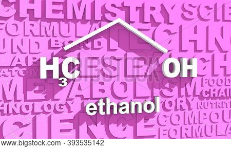Structural Chemical Formula Of Ethanol Molecule. 3d Rendering