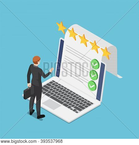 Flat 3d Isometric Businessman Standing With Online Survey Document Checklist From Laptop Screen. Onl