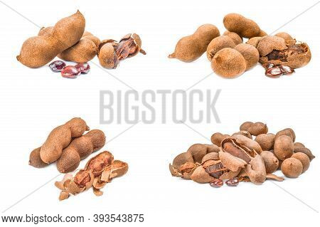 Collage Of Tamarindus Indica Isolated On A White Cutout