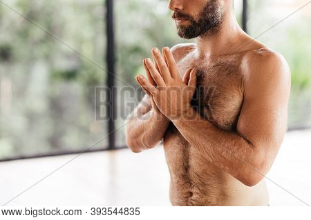Yoga Men Workout In Studio, Training In Front Of A Window