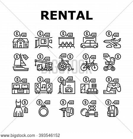 Rental Service Business Collection Icons Set Vector. House And Apartment, Car And Airplane, Boat And