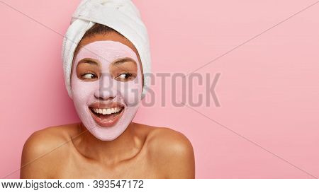Cropped Image Of Happy Delighted Young Woman With Cosmetic Clay Mask On Face For Rejuvenation, Looks