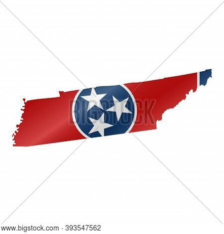Detailed Waving Flag Map Of Tennessee. Vector Map With Masked Flag.