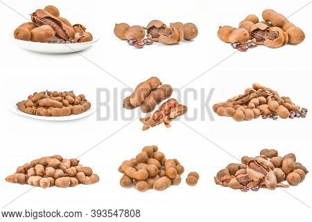 Collage Of Tamarindus Indica Isolated On A White Background