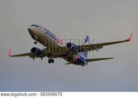 Saint Petersburg, Russia - October 28, 2020: Airplane Boeing 737-800 (vq-bby) Of Smartavia Airlines
