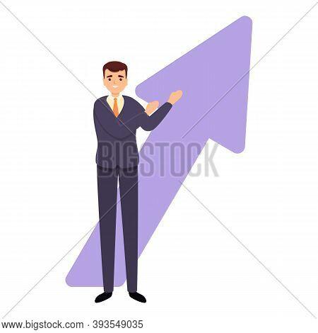 Successful Businessman Grow Up Icon. Cartoon Of Successful Businessman Grow Up Vector Icon For Web D