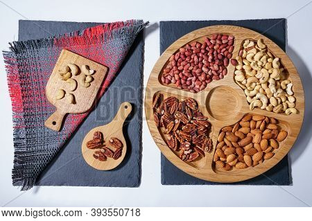 Healthy Mix Of Nuts. Pecans, Cashews, Almonds, Peanuts Pine Nuts Walnuts Hazelnuts