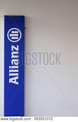 Bordeaux , Aquitaine / France - 11 01 2020 : Allianz Insurance Sign Blue Logo Front Of Office Financ