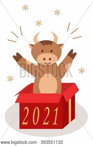 Christmas Goby Happily Jumps Out Of The Box. Symbol Of The Year Bull Vector Illustration.