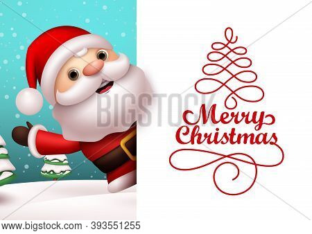 Christmas Santa Vector Banner Template. Merry Christmas Typography Text In Empty White Space For Mes