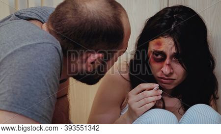 Alcoholic Violent Man Assaulting Scared Wife. Aggressive Man Abusing Injuring Terrified Helpless, Vu