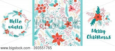 Floral Christmas Pattern Set. Christmas Floral Cards Happy New Year Wreath, Floral Illustration Vect